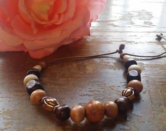 Brown and Bronze Wood Beaded Slide Bracelet