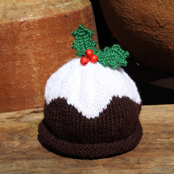 Christmas Pudding Holly Leaf Beanie Knit Baby Knitwear Baby  687eab530c9d