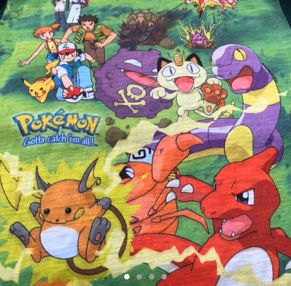 1999 vintage Pokemon Shirt Pikachu Ash all over pr