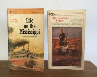 1960's Paperbacks, Vintage Mark Twain, Life On The Mississippi, The Scarlet Letter, Nathaniel Hawthorne, Literature Books, Set of 2, Vintage