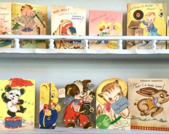 1940s Juvenile Birthday Cards Crafting Lot of 13 USED CARDS For Vintage Art Supply Collage Junk Journal Scrapbook Distressed Ephemera, Etc
