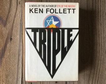 "Ken Follett's ""Triple"" 1979 1st Edition Hardcover, Follets' 2nd Book, Arbour House, 1970s Books"