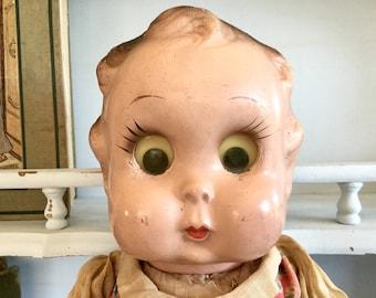 Vintage 1930s Goo Goo Eva Googly Big Eyed Doll, Composite Head, Stuffed Cloth Body, Ralph Freundlich Doll, Shabby Distressed Google Eye Doll