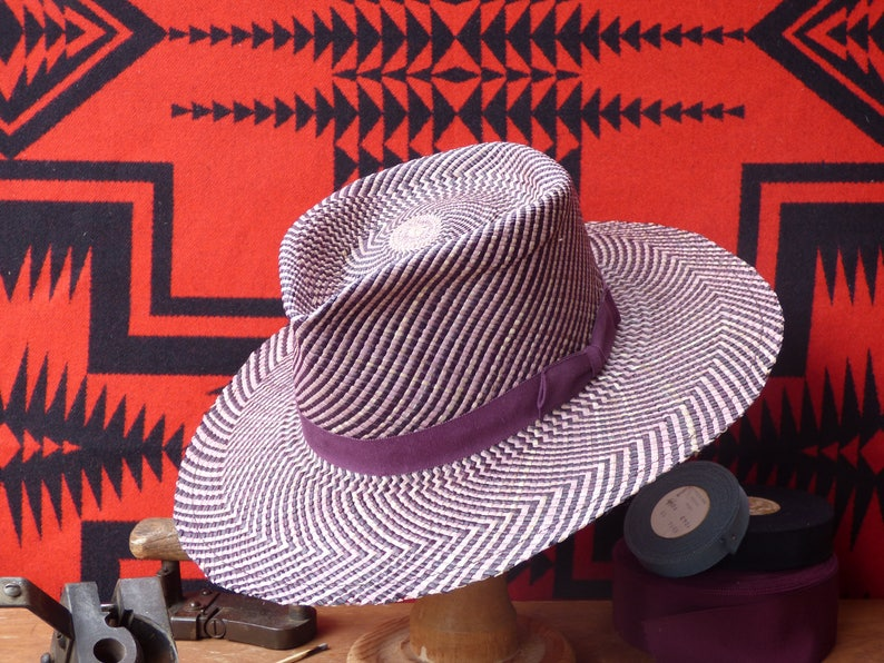 314224c083a78 Handmade Purple Dark Brown Patterned Panama Straw Fedora Hat
