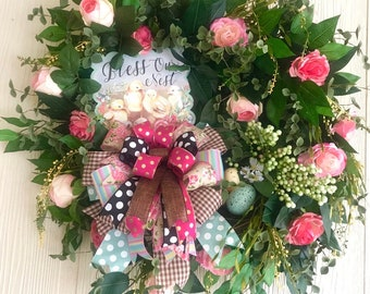Grapevine Wreath, Pink Roses, Bless Our Nest Sign