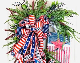 Patriotic Wreath for Front Door, July 4th