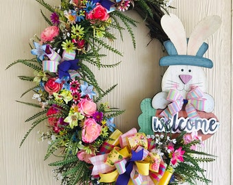 Easter Wreath, Bunny Welcome Sign on Grapevine
