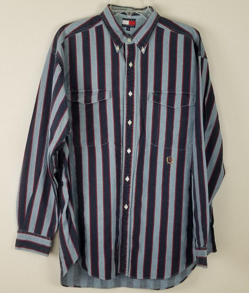 f39e019e Tommy Hilfiger Vtg button down long sleeved blue striped men | Etsy