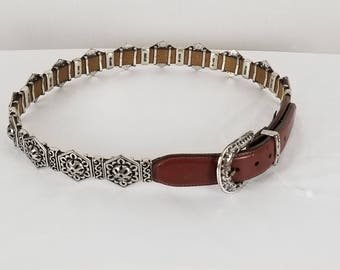 BRIGHTON VTG 1995 brown leather silver tone buckle Belt with silver links Sz L