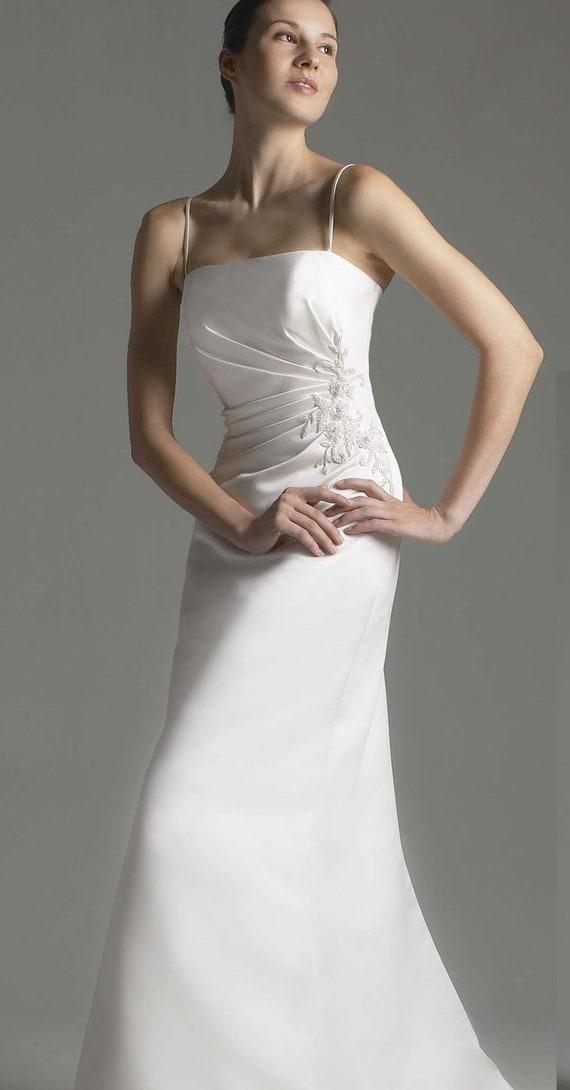 Wedding Dress, Plus Size, Satin Gown, Size 28, White Satin Gown, Informal  Gown, White Dress, Strapless Women Dress