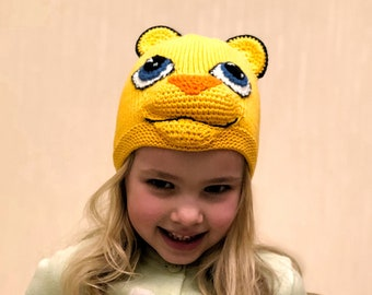 78938936ddc Lion hat Animal hat boy Cat ears hat Crochet animal beanie Knit animals hat  Cotton knit hat Eco-friendly hat Yellow beanie cotton Spring hat