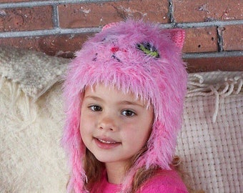 6c8233af80a Pink furry cat hat with ear flaps for toddlers Knit costume animal hat with  ears for girls Winter pussy earflaps hat for kids Pink kitty hat