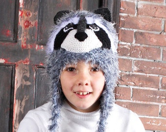 0fb33786414 Gray fuzzy knit Raccoon animal costume hat with ear flaps for boy or girl  Hand knitted trapper wool soft hat with ears for kids and adults