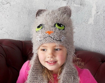 1287a4d8d7b Gray cat ears hat for girls with ear flaps Knit fuzzy animal hat for kids  and adults Costume soft winter woolly pussy hat for toddlers