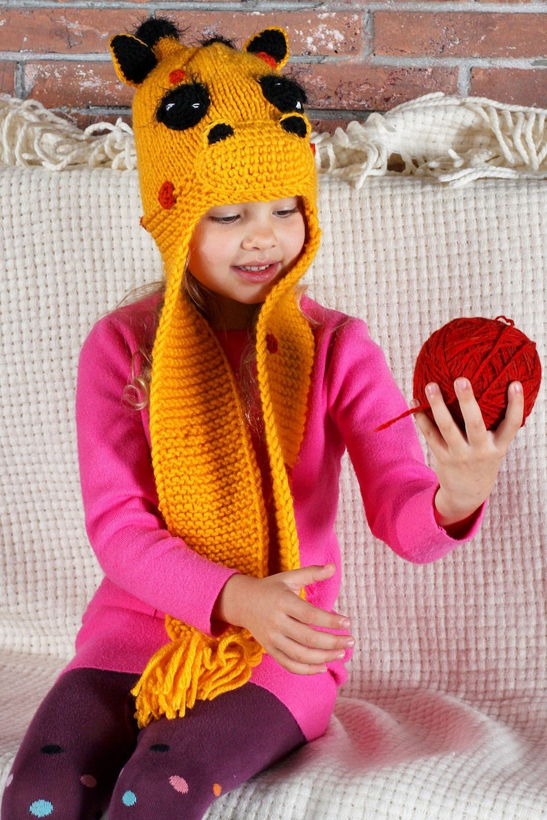 9a179c79fbb Knit animal hat for women and kids with ear flaps Funny polka