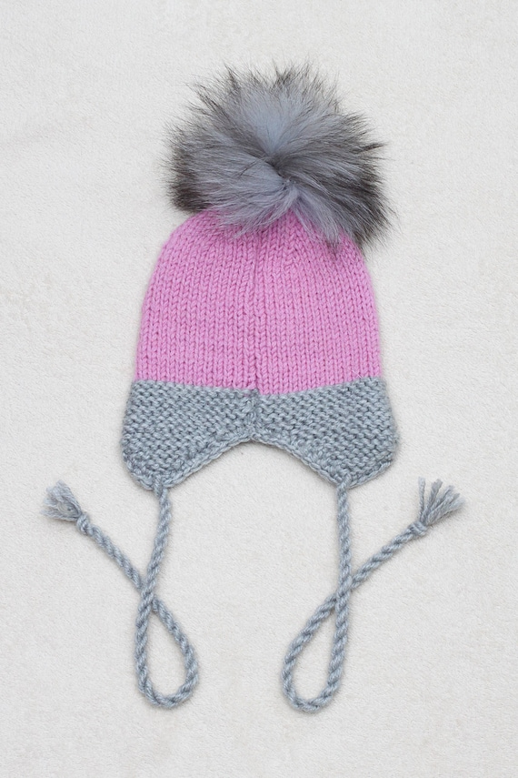 Stunning Baby Girl Pink Big Fur Pom Hat with Knit Flower Details Ear Flap Tie