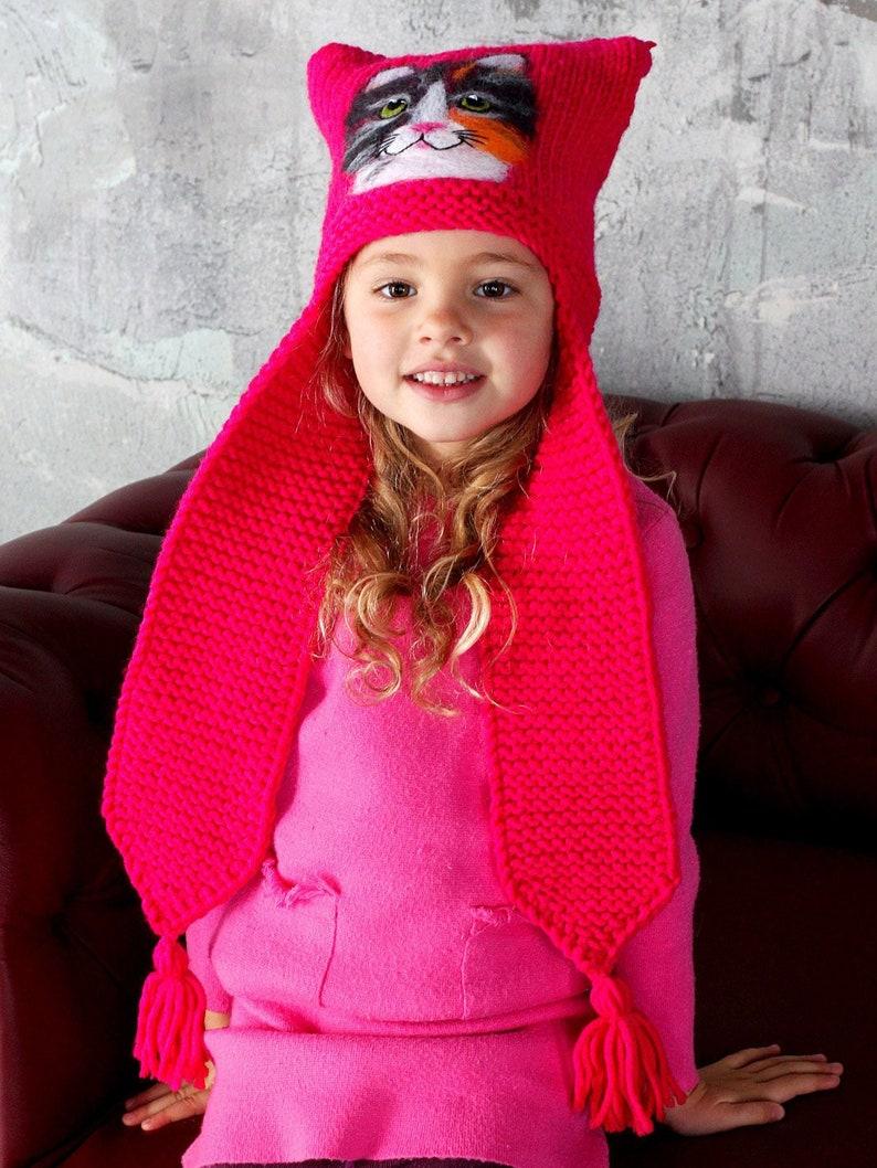 d4d0039c8 Cat ear hat Earflaps hat for girl Animal hat adult Kids hat Knit animal hat  Pink hat toddler Nuno felt hat Wool hat toddler Fleece lined hat