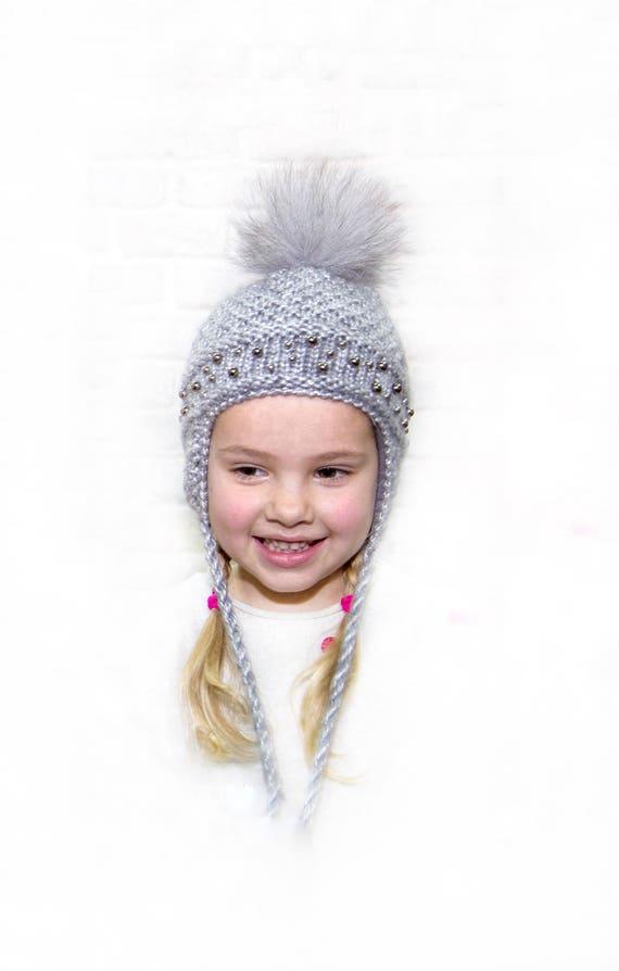 Gray knit hat for baby Ear flaps hat Fur pom pom hat kids  a1369695b48