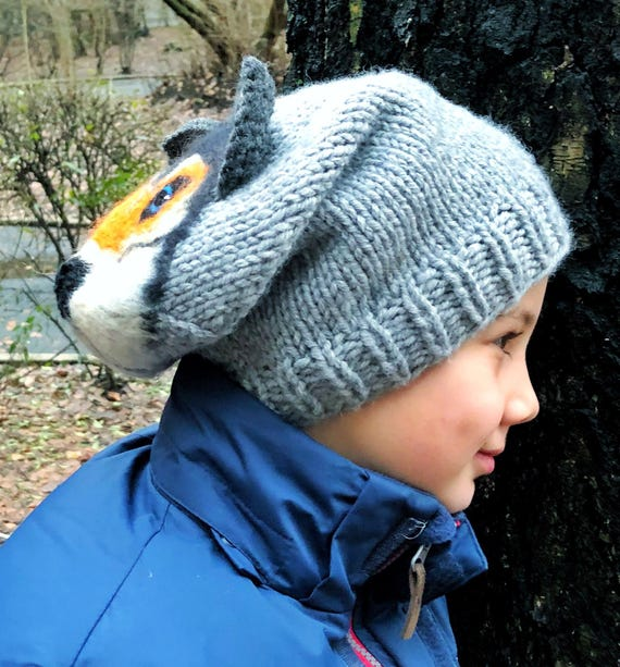 /'Hat-imals/' Hand-Knit 100/% Wool Animal Winter Hats for Kids and Teens Set 1