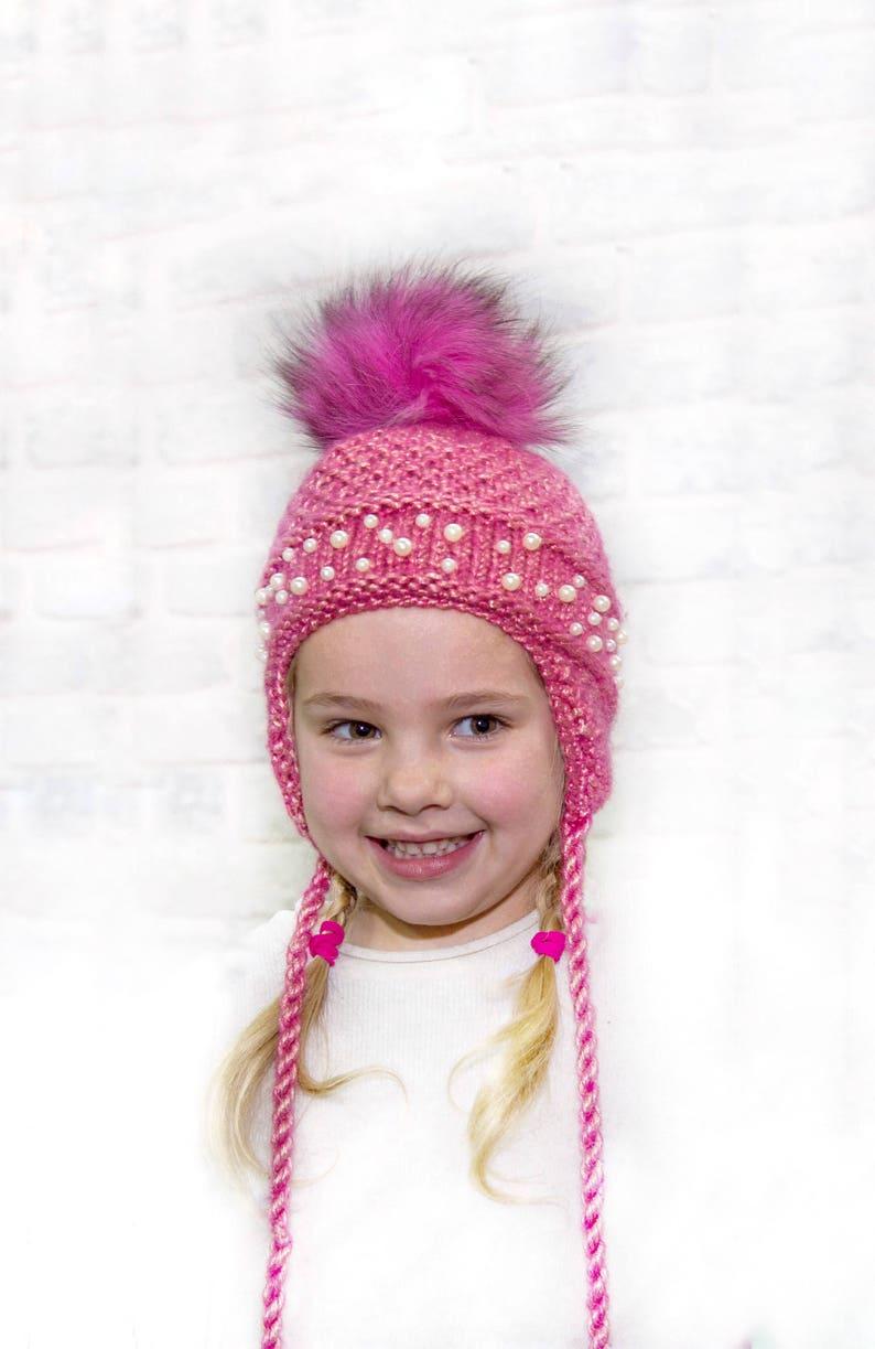 75b655dd7 Ear flap hat Pom pom hat toddler Fur pom pom hat kid Fleece lined hat Pink  hat toddler Fuchsia hat Wool pompom hat Toddler hat with ear flap
