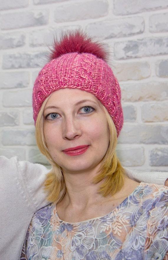Fur pom pom hat for women Cable hats women Ski hat for women  f93c89f39039