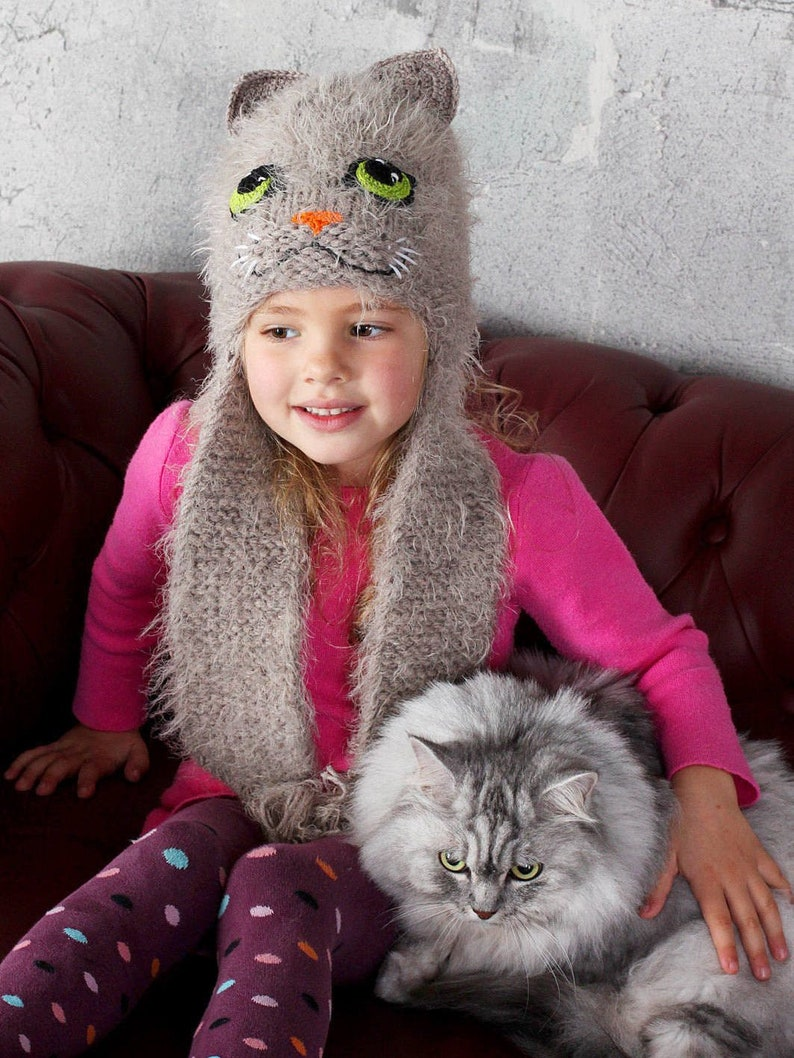 379bc95e839 Gray cat ears hat for girls with ear flaps Knit fuzzy animal