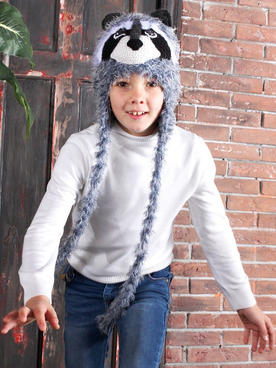 faabc99842a Gray fuzzy knit Raccoon animal costume hat with ear flaps for