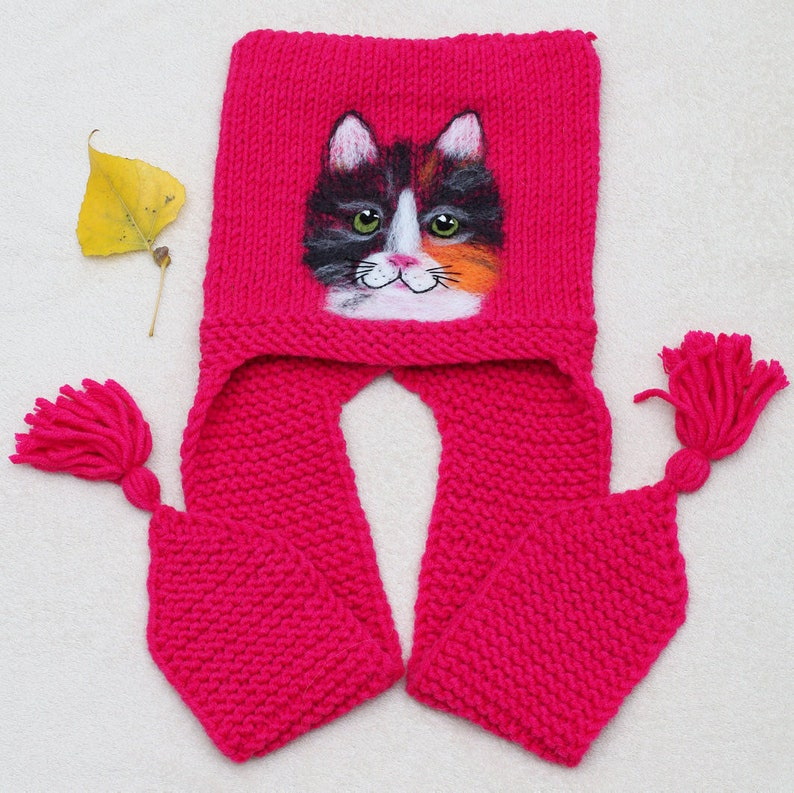 Cat ear hat Earflaps hat for girl Animal hat adult Kids hat Knit animal hat Pink hat toddler Nuno felt hat Wool hat toddler Fleece lined hat