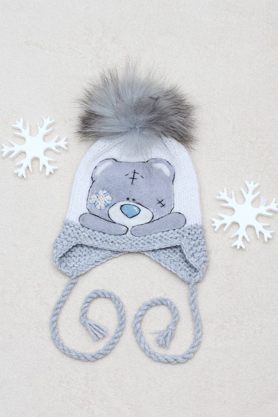 80257ee3803 White hat for toddlers Earflaps hat for boys Fur pom pom hat