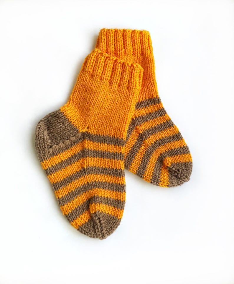 Striped socks knit Toddler Socks Wool knit socks for children Winter socks girl Toddler knit socks Orange knit socks Toddler wool socks