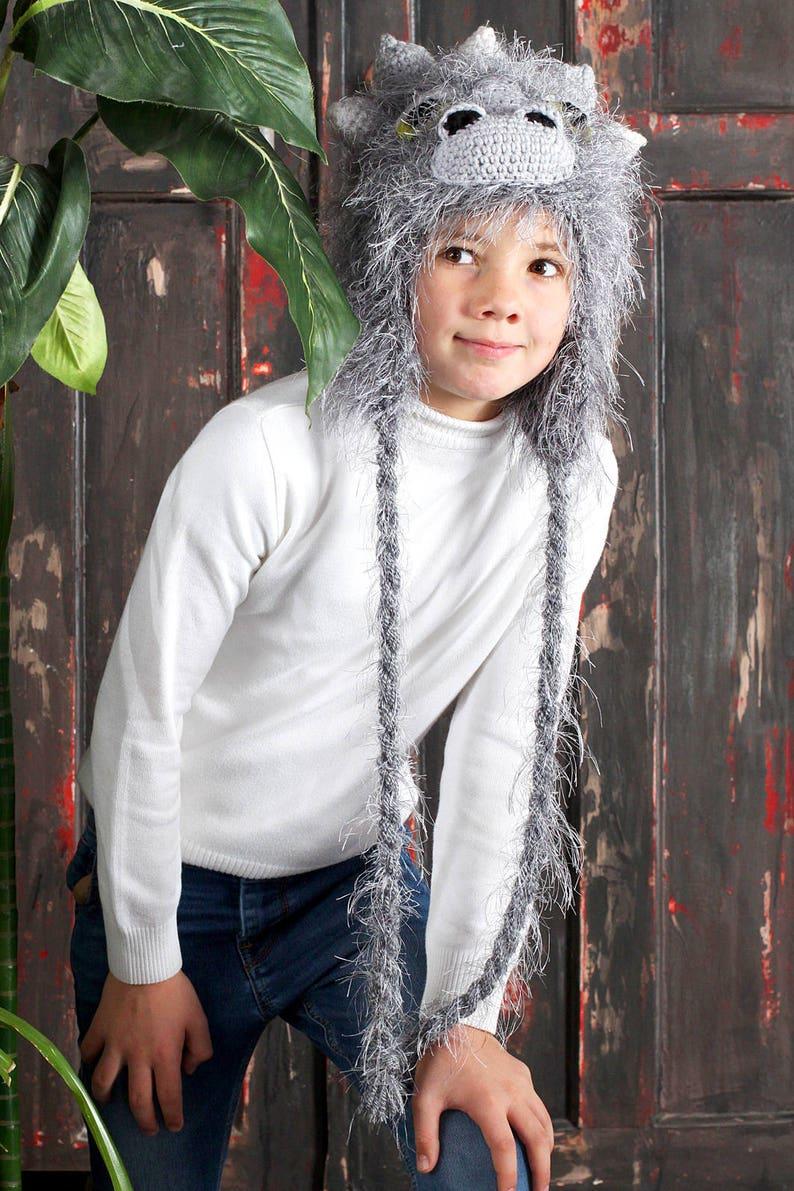 5b585a98069756 Earflaps hat boys Dragon hat Animal knit hat Gray knit hats | Etsy