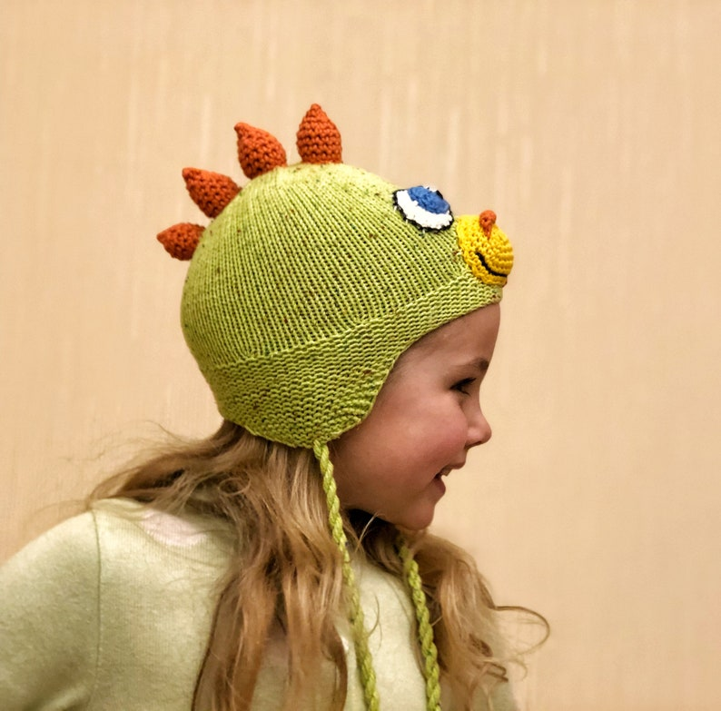 3663162ec50 Lime green knit cotton dinosaur costume hat kids with earflaps
