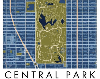 Central park map Etsy