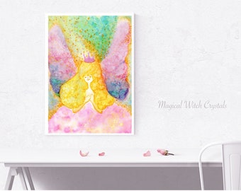 Art, illustration, Painting ◁ ▷ Fairy affection ◁ ▷ Healing Art, Healing, Love and Light, Spiritual, Fairy tale, Oracle, Mess Age.