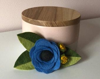 Bright Blue Wildflower    felt flower headband or clip
