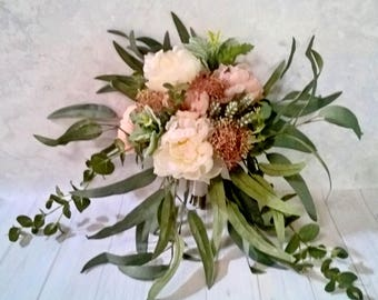 Bohemian Bridal Bouquet, Package, Peony, Peony, Dusty Miller, Santolina, Skimmia, Gum leaves, Dollar gum