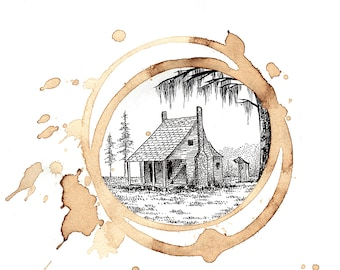 "Coffee Art-""Cajun Home""-Louisiana Inspired Art, pen and ink, drawing, illustration, design"
