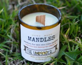 miniMANdles-The Landscaper (fresh cut grass scent); candles, man cave, decor.