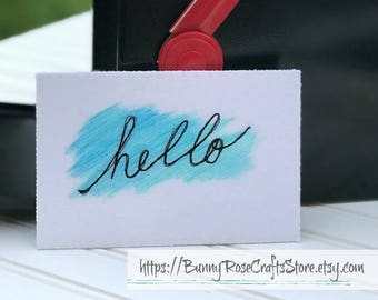 Fabric Postcard - 'hello'  ‖  Greeting Card  ‖ Hand painted Card  ‖ Quilted Card ‖ Thinking of You ‖ Hello Card  ‖ Thread Sketch ‖ Art Quilt