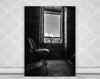 Photo of a window in an abandoned house in a french village, Urbex, urban exploration, original gift, fine art photography, home decor