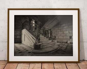 Abandoned Castle Print, Urban Decay Print , Abandoned French Castle, Urbex,  Sepia Photography, Urban Wall Art, French Home Decor,