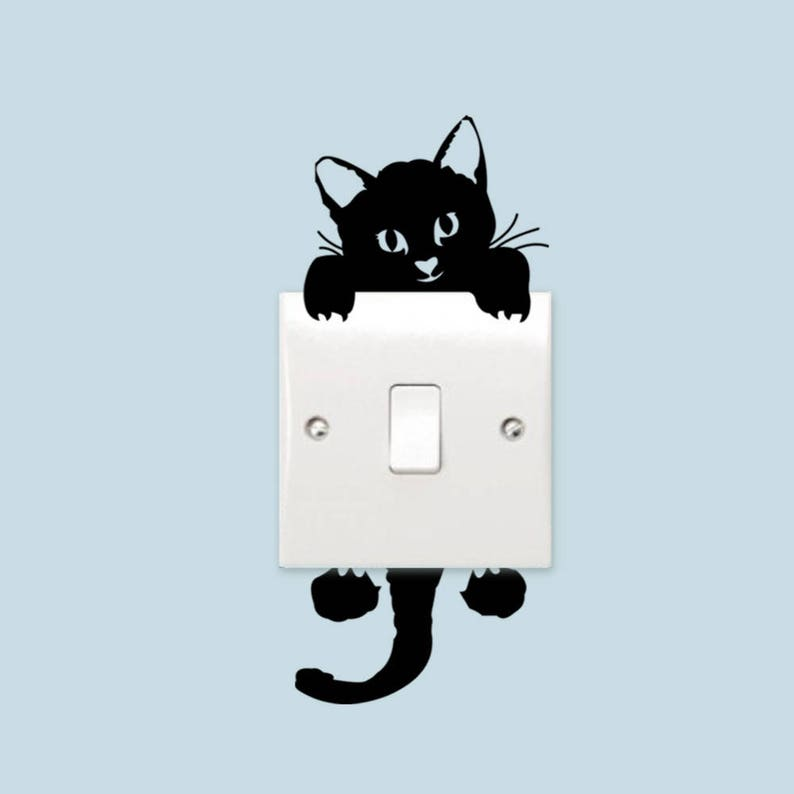 ac301eaf6a03 Funny Black Cat Switch Stickers Vinyl Wall Stickers Home   Etsy