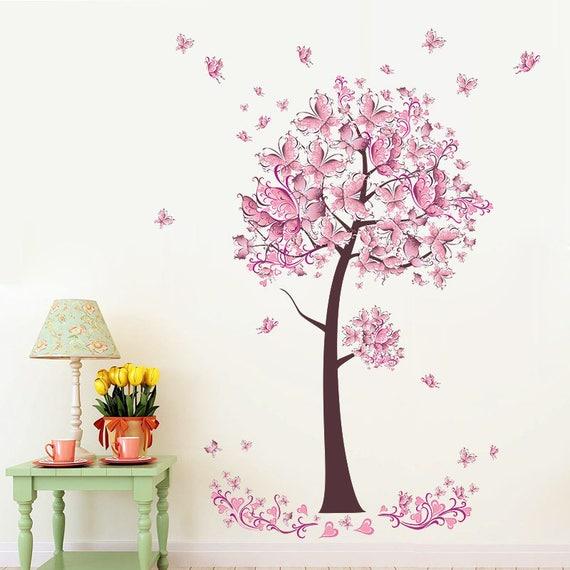 Pink Butterfly Flower Tree Wall Stickers Decals Girls Women  c952002ea