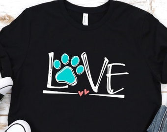 26c9f0141534 Love Paw Print Bella Canvas Unisex Short Sleeve Tshirt Unisex shirts Dog  Shirts Dog Mom Cute Shirts Fun Shirts