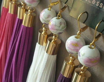 Tassel earrings bright colors painted porcelain bead with flower faux suede gold pleated hooks