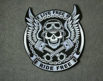 Grip Twist Ride Biker By Choice Skull Piston Sew or Iron on Patch Biker Patch