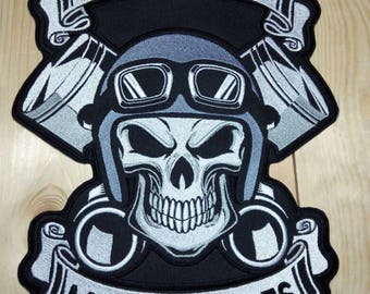 Custom Skull Pistons Patch With Your Text Rockers Personalized Biker Embroidered 3 Size