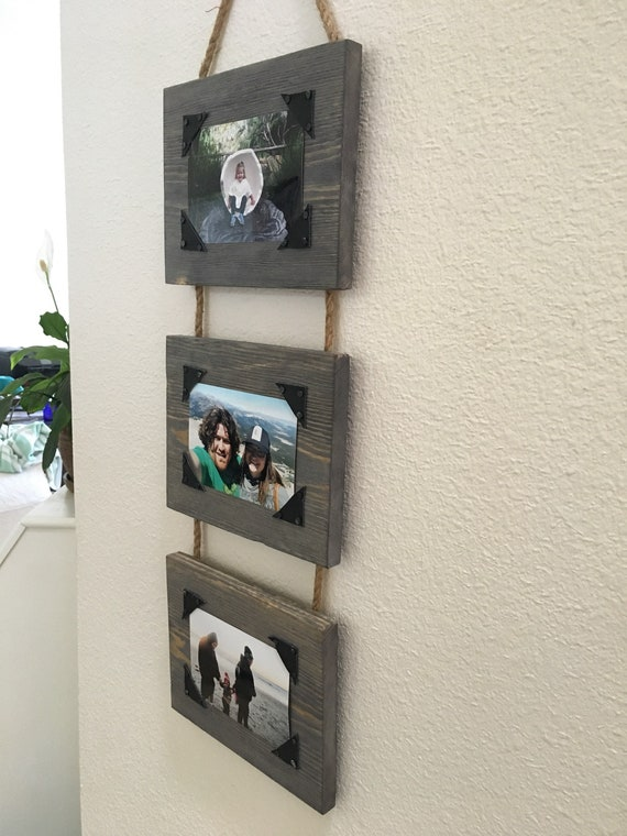 Three Tier Hanging Wood Photo Frame Wood And Rope Picture Etsy