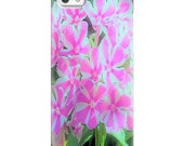 Premium Glossy Snap Phone Case, Hot Pink and White Peppermint Twist Garden Phlox, Custom Design for iPhone, Samsung Galaxy and more