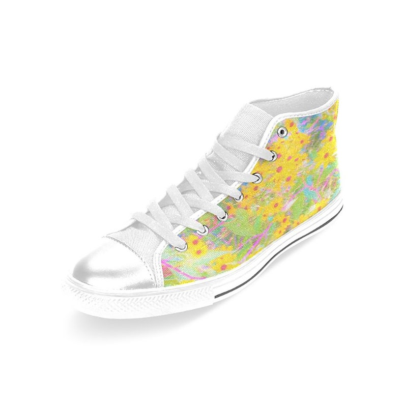 White High Top Canvas Sneakers Pretty Yellow and Red Flowers with Turquoise Flowers High Top Tennis Shoes for Women and Teen Girls